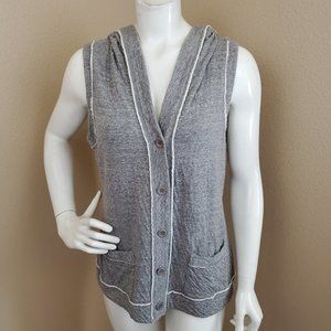 EILEEN FISHER Gray Cotton Button Front Hooded Vest